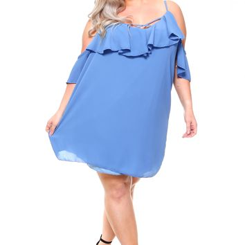 Women's 3/4 Ruffle Cold-Shoulder Dress