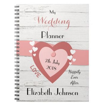 Rustic Wedding planner Notebook pink and black