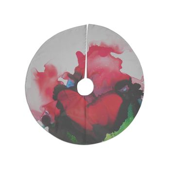"""Carol Schiff """"Ravishing Red"""" Red Green Floral Abstract Painting Watercolor Tree Skirt"""
