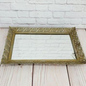 Vintage Ornate Gold Toned Rectangle Hollywood Regency Style Mirrored Dresser Vanity Tray