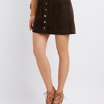 Button-Up Corduroy Mini Skirt | Charlotte Russe