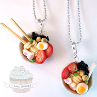Ramen bowl necklace- Free fortune cookie charm