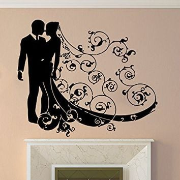 Wall Decal Wedding bride and groom Vinyl Sticker Decals Wedding Home Decor Bedroom Art Design Interior NS601