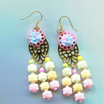 rose bead earrings, chandelier earrings, pastel colors flower earrings, long dangles beaded handmade jewelry