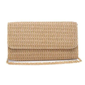 Urban Expressions Cream Raffia Clutch