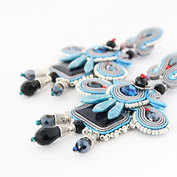 Long boho chandelier earrings, grey blue soutache earrings, big silver earrings