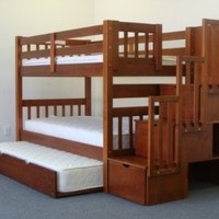 Bedz King Stairway Twin Over Twin Bunk Bed, Cappuccino