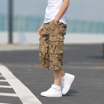 ONETOW MILEY Men Causal Shorts Camo Cargo Camouflage Shorts New 2016 Men large size Multi-pocket Cotton Military Short Pants