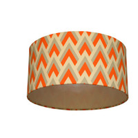 Orange grey triangle fabric lampshade - large ceiling, table or floor lampshade