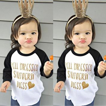 Boutique Toddler Kids Girl Long Sleeve Cotton Tops T-shirt Clothes Onepiece 0-5T