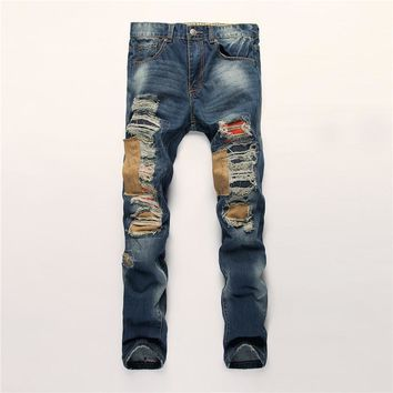 Ripped Holes Men Slim Pants Jeans [6528346947]