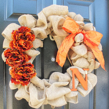 Orange Monogram Burlap Wreath Monogram Letter Fall Burlap Wreath Cottage Chic Home Decor Front Door Decor