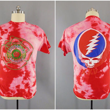 1990s Vintage / Grateful Dead Concert Shirt / 25th Anniversary T-Shirt / Steal Yur Face XXV / Pink Tie Dye / 1990 GDM Inc / Size XL