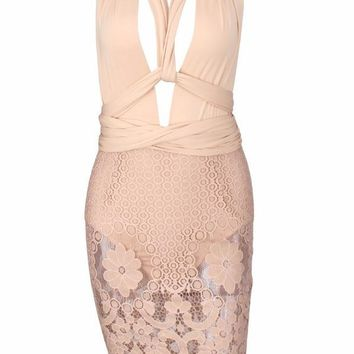 Nadia Neutral Deep V Lace Dress