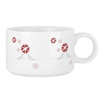 White Dove in Love Red Heart Flower Rustic Cute Chili Bowl