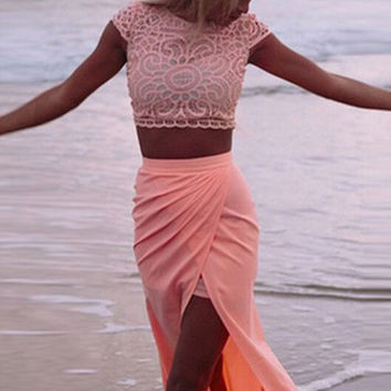 Lace Tops And Irregular Skirts Two-Piece Suits