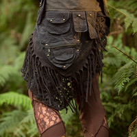 Patchwork Pocket Skirt (Black) - Sexy Fairy Hippie Boho Goa Festival Gypsy Bohemian Skirt with Pocket