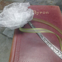 White Fabric Ribbon Large Silver Bookmark with Green Accent Ribbon