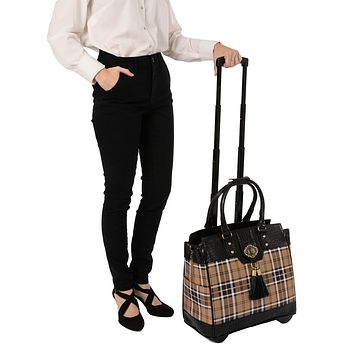 """""""MAD FOR PLAID"""" Rolling Laptop Tote Holdall Bag (fits  up to a 17""""/17.3"""")"""