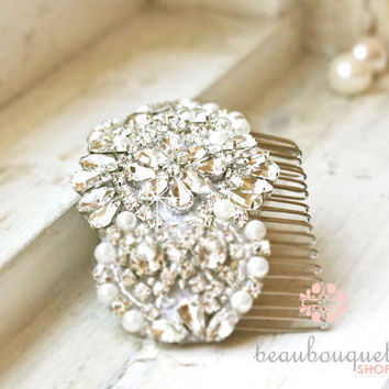 Bridal Haircomb Crystal Beaded Rhinestone Headpiece by beaubouquet