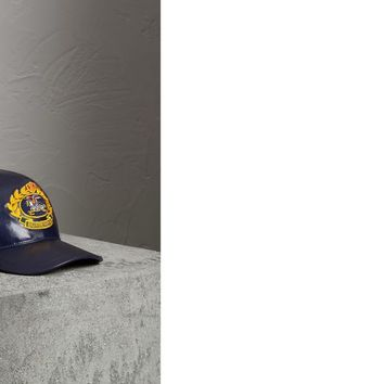 Archive Logo Coated Cotton Baseball Cap in Navy | Burberry United States