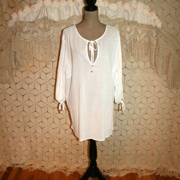 Plus Size White Gauze Top Long Cotton Top Boho Beach Cover Up White Long Tunic Top Bohemian Tunic Size 16 Size 18 1X 2X Womens Clothing
