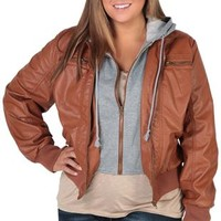 Plus Size Leather Jacket With Fleece Hood and Full Zip Front