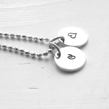 Initial Necklace with Heart, Heart Necklace, Tiny Initial Necklace, Letter o Necklace, All Letters Available, Sterling Silver Jewelry, o