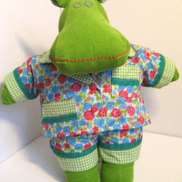 Handmade stuffed animal hippo - Cuddly toy - Little girls toys - Green hippo plushie- Unique plush hippo - Stuffed toy - Milo the Mippo