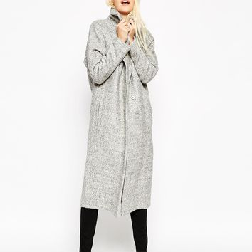 ASOS Coat with Batwing Sleeve in Midi Length at asos.com