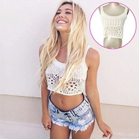 Fashion Girls Ladies Hollow Out Lace Crochet Knitted Pure Tank Top Women White Crop Top = 5617073217