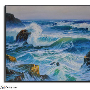 Large Oil Painting, Original Art, Landscape Painting, Seascape Painting,Scenery Painting,Ocean Waves, Landscape Art