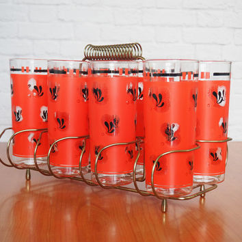 Mid Century Libbey Glassware with Caddy / Set of 8 Orange and Black Highball Glasses, Tumblers, Beverage Glasses