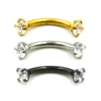 Internally Thread Cubic Zircon Stainless Steel Curved Barbell Piercing Eyebrow Ring Body Jewelry Retainers