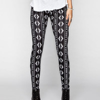 Full Tilt Southwest Print Womens Leggings Cream/Black  In Sizes