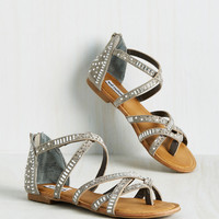 Back in a Flashy Sandal in Silver | Mod Retro Vintage Sandals | ModCloth.com