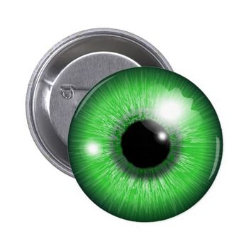 green eyeball pinback button