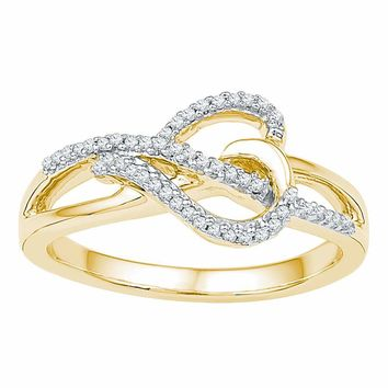 10kt Yellow Gold Womens Round Diamond Heart Infinity Ring 1/6 Cttw