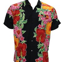 La Leela Hawaiian Floral Printed Likre Beach Hawaiian Shirt