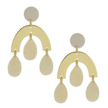 Ivory and Gold Arc Earrings