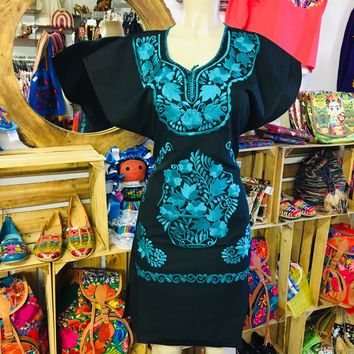 Mexican Embroidered Mini Dress Black and Teal