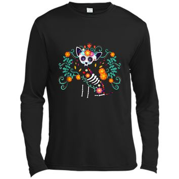 Day of the Dead Chihuahua Skeleton with heart and flowers Long Sleeve Moisture Absorbing Shirt