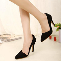 Fashion Womens Office Lady Stiletto Pointed Toe High Heels Side Empty Shoes 1n6