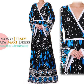 Kimono Abaya, Crossover VNeck Jersey Dress, Long Sleeves Maxi Dress - Size M/L (6046)