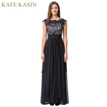 Kate Kasin Black Lace Evening Dresses Long Party Dress Cap Sleeve V-Back Chiffon Prom Dresses Formal Evening Gown Robe de Soiree
