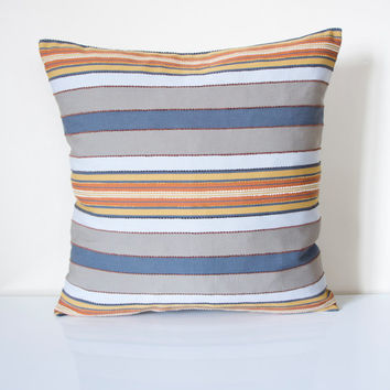 Blue Striped Decorative Pillows : Blue and Orange Striped Pillow Cover, from prettysurprise on Etsy