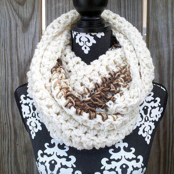 Infinity Scarf, Bohemian Scarf, Cowl, Chunky Scarf, Fall Fashion, Winter, Cafe Au Lait, Vegan Friendly, Cozy Scarf, Statement Piece,