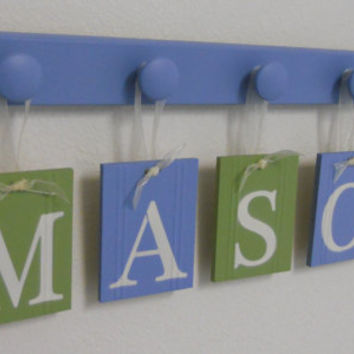 Custom Nursery Letters - Baby Name Wall Hanging - Personalized for MASON with 5 Wooden Pegs Blue and Green