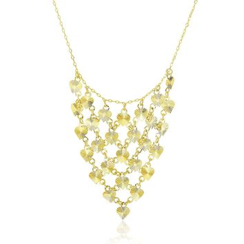 14k Yellow Gold Bib Style Textured Hearts Necklace