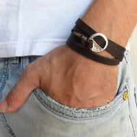 Men's Bracelet - Dark Brown Leather Bracelet With Silver Circle Element - Men's Jewelry - Geometric Jewelry - Gift for Him